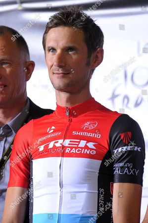 Trek Factory Racing Procycling Team Rider Frank Schleck of Luxembourg Poses During the Opening Ceremony of the 101st Edition of the Tour De France 2014 Cycling Race in Leeds Great Britain 03 July 2014 the 101st Edition of the Tour De France 2014 Cycling Race Will Start in Leeds on 05 July 2014 United Kingdom Leeds