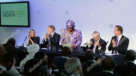 President of the Republic of Malawi Joyce Banda (c) with (l-r) Jamie Cooper-hohn Ceo of Ciff Irish Prime Minister Enda Kerry Vice President of Brazil Michel Temer and British Prime Minister David Cameron (r) at the Nutrition For Growth Global Hunger Summit in London Britain 08 June 2013 Politicians and Leaders From the World of Science and Big Business Gathered to Tackle the Issue of Global Hunger Ahead of the G8 in Northern Ireland on 17 June United Kingdom London