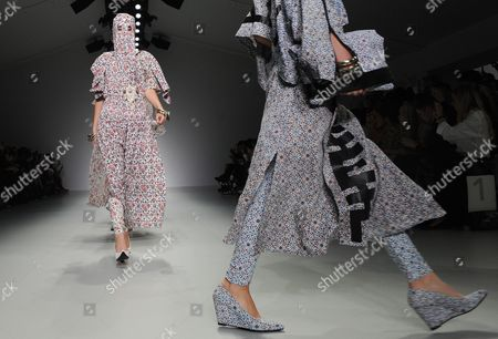 Models Present Creations by Designers Marjan Pejoski and Koji Maruyama For Ktz at the London Fashion Week in London Britain 16 September 2013 the Spring/summer 2014 Collections Are Presented From 13 to 17 September United Kingdom London