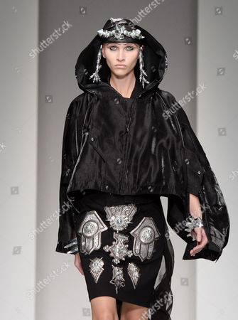 A Model Presents a Creation by Designers Marjan Pejoski and Koji Maruyama For Ktz at the London Fashion Week in London Britain 16 September 2013 the Spring/summer 2014 Collections Are Presented From 13 to 17 September United Kingdom London