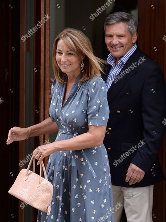 Carole (l) and Michael Francis (r) Middleton the Parents of the Duchess of Cambridge Depart St Mary's Hospital in London Britain 23 July 2013 After Visiting the Royal Couple and Their Newborn Baby Boy Thirty-one Year Old Catherine Duchess of Cambridge Gave Birth to Her and Prince William's First Child at 4 24pm Bst at the Lindo Wing of St Mary's Hospital on 22 July United Kingdom London