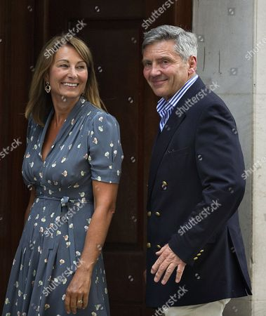 Stock Image of Carole (l) and Michael Francis (r) Middleton the Parents of the Duchess of Cambridge Arrive at St Mary's Hospital in London Britain 23 July 2013 to Visit the Royal Couple and Their Newborn Baby Boy Thirty-one Year Old Catherine Duchess of Cambridge Gave Birth to Her and Prince William's First Child at 4 24pm Bst at the Lindo Wing of St Mary's Hospital on 22 July 2013 United Kingdom London
