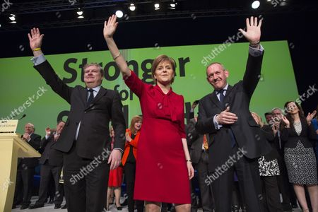 Scottish National Party (snp) Leader Nicola Sturgeon (c) with Angus Robertson (l) Snp Parliamentary Group Leader and Stewart Hosie (r) Snp Depute Leader After Delivering Her Closing Speech at the Party's Spring Conference in Glasgow Scotland 29 March 2015 the Snp Are Hosting Their 2015 Campaign Conference in Glasgow on 28/29 March 2015 United Kingdom Glasgow