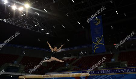 Hannah Whelan of Great Britain Practises on the Balance Beam During a Training Session For the 30th European Women's Artistic Gymnastics Championships in Sofia Bulgaria 13 May 2014 Bulgaria Sofia