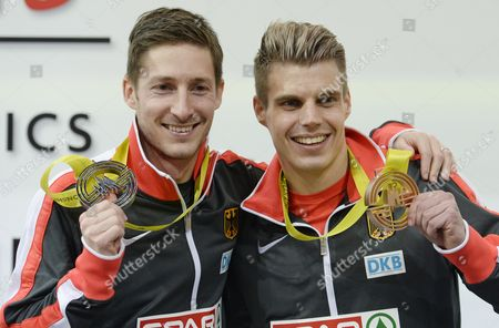 Bronze Medal Winner Julian Reus of Germany (r) and Silver Medal Winner Christian Blum (l) of Germany During Medal Ceremony For the Men's 60 Meters Race During the European Athletics Indoor Championships 2015 at the 02 Arena in Prague Czech Republic 08 March 2015 Czech Republic Prague