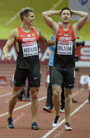 Bronze Medal Winner Julian Reus of Germany (l) and Silver Medal Winner Christian Blum of Germany Celebrates After the Men's 60 Meters Final Race During the European Athletics Indoor Championships 2015 at the 02 Arena in Prague Czech Republic 08 March 2015 Czech Republic Prague