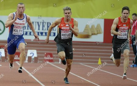 Richard Kilty of Britain Julian Reus and Christian Blum of Germany Compete in the Men's 60 Meters Final Race During the European Athletics Indoor Championships 2015 at the 02 Arena in Prague Czech Republic 08 March 2015 Czech Republic Prague