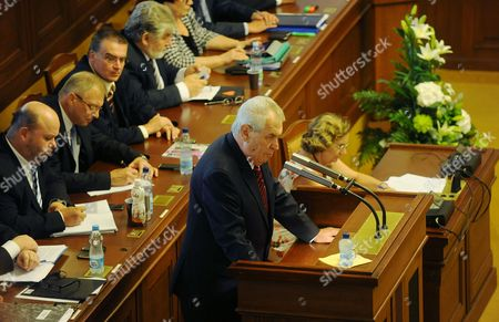 Czech President Milos Zeman Delivers a Speech Before a Confidence Vote Against Czech Republic's Newly Appointed Government Led by Jiri Rusnok in Prague Czech Republic 07 August 2013 the Lower House of the Czech Parliament was Holding a Confidence Debate on the Cabinet of Caretaker Prime Minister Jiri Rusnok who Took Office a Month Earlier Following the Resignation of His Predecessor Petr Necas Over a Spying and Corruption Scandal Czech Republic Prague