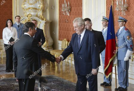 Czech President Milos Zeman (r) Shakes Hands with New Czech Finance Minister Jan Fischer During Appointments of New Czech Government at Prague Castle Prague Czech Republic 10 July 2013 Czech President Milos Zeman Appointed New Czech Government Led by Jiri Rusnok Nearly a Month After Petr Necas Offered His Resignation Over a Spying and Corruption Scandal Czech Republic Prague