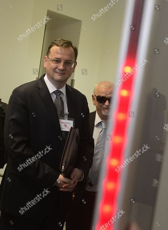 Former Prime Minister Petr Necas Arrives For the Questioning at the Headquarter of Unit For Combating Organized Crime in Prague Czech Republic 12 July 2013 Necas is Being Questioned by the Police Investigators Over His Role in the Scandal That Toppled His Government Investigators Are Asking Him About Alleged Corruption and the Police Are Also Looking Into the Activities of the Ex-prime Ministers Former Chief of Staff Jana Nagyova who Used the Countrys Military Intelligence with Spying on Mr Necas Wife Czech Republic Prague