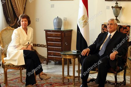 Egyptian Interim President Adli Mansour (r) Meets with Eu High Representative For Foreign Affairs and Security Policy Baroness Catherine Ashton (l) in Cairo Egypt 29 July 2013 During the Visit She Will Meet with Interim President Adli Mansour Vice-president Mohamed El Baradei Minister of Defence General Abd Al Fattah Al Sissi and Other Members of the Interim Government She Will Also Hold Talks with Other Political Forces Including Representatives of Freedom and Justice Party and Representatives of Civil Society Egypt Cairo