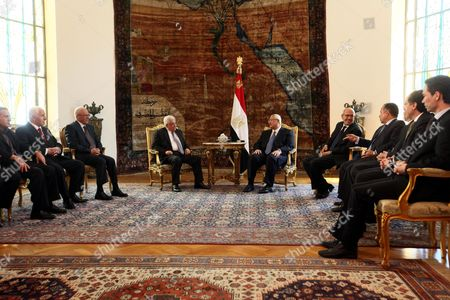 Egyptian Interim President Adli Mansour (c-r) Meets with Palestinian President Mahmoud Abbas (c-l) in Cairo Egypt 29 July 2013 Reports State That Abbas is Expected to Update the Egyptian Officials on Palestinian-israeli Negotiations Expected to Resume Later 29 July 2013 in Washington Egypt Cairo