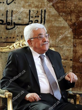Palestinian President Mahmoud Abbas Meets with Egyptian Interim President Adli Mansour (not Pictured) in Cairo Egypt 29 July 2013 Reports State That Abbas is Expected to Update the Egyptian Officials on Palestinian-israeli Negotiations Expected to Resume Later 29 July 2013 in Washington Egypt Cairo