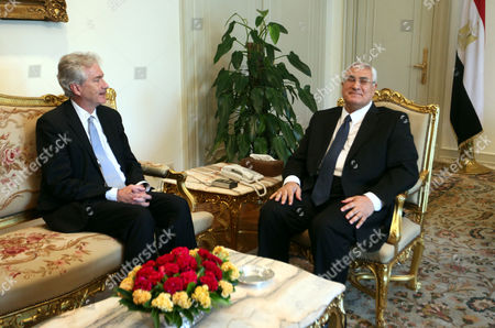 Egyptian Interim President Adli Mansour (r) Meets with Us Deputy Secretary of State William Burns (l) at the Presidential Palace in Cairo Egypt 15 July 2013 Burns is the First Us Official to Visit Cairo Since the Army Overthrew Islamist President Mohamed Morsi Egypt Cairo