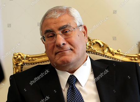 Egyptian Interim President Adli Mansour Looks on During a Meeting with Us Deputy Secretary of State William Burns (not Pictured) at the Presidential Palace in Cairo Egypt 15 July 2013 Burns is the First Us Official to Visit Cairo Since the Army Overthrew Islamist President Mohamed Morsi Egypt Cairo