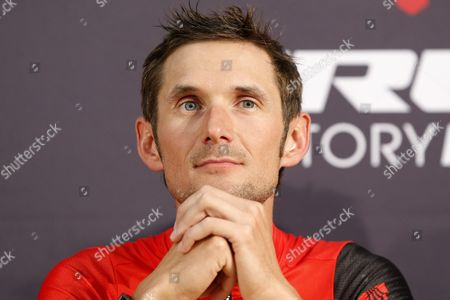 Trek Factory Racing Team Rider Frank Schleck of Luxembourg Attends a Press Conference Prior the Start of the 101st Edition of the Tour De France 2014 Cycling Race in Leeds France 03 July 2014 United Kingdom Leeds