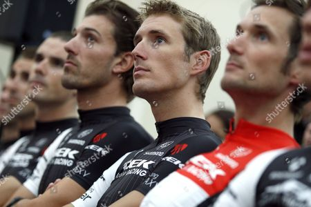 Trek Factory Racing Team Rider Andy Schleck (c) of Luxembourg Attends a Press Conference Wih Team-mates Fabian Cancellara (l) of Switzerland and Frank Schleck (r) of Luxembourg Prior the Start of the 101st Edition of the Tour De France 2014 Cycling Race in Leeds France 03 July 2014 United Kingdom Leeds
