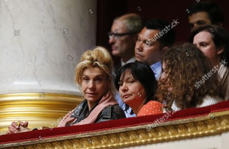 Anti-gay Marriage Activist Virginie Tellenne Also Known As Frigide Barjot (l) Sits with Members of the Public to View the Final Parliamentary Vote in the French National Assembly to Legalize Gay Marriage and Allow Same-sex Couples to Adopt Children at the French National Assembly in Paris France 23 April 2013 the Legalization Makes France to Become the 14th Country in the World to Legalize Same-sex Marriage a Major Social Reform Since France Banned the Death Penalty in 1981 France Paris
