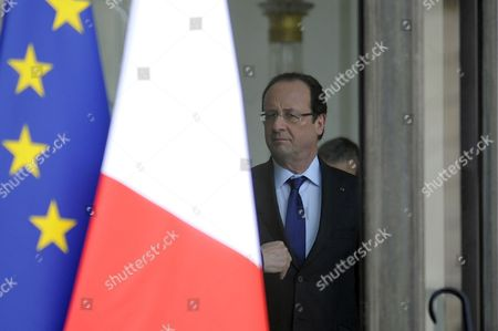 French President Francois Hollande Talks to French Foreign Affairs Minister Laurent Fabius (unseen) After His Meeting with President of Mali Dioncounda Traore (not Pictured) at the Elysee Palace in Paris France 17 May 2013 France Paris
