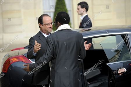 French President Francois Hollande (l) and President of Mali Dioncounda Traore (r) As Dioncounda Leaves Following a Meeting at the Elysee Palace in Paris France 17 May 2013 France Paris