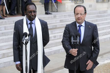Stock Picture of French President Francois Hollande (r) and President of Mali Dioncounda Traore (l) Talk to the Media After Their Meeting at the Elysee Palace in Paris France 17 May 2013 France Paris