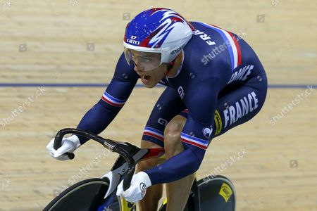 Kevin Sireau of France Competes During the Men's Team Sprint of the 2015 Uci Track Cycling World Championships in Saint-quentin-en-yvelines France 18 February 2015 the French Team Took the Gold Medal France Saint-quentin-en-yvelines