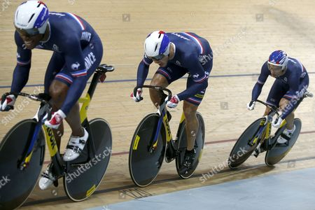 (from L to R): Gregory Bauge Michael D'almeida and Kevin Sireau of France Compete During the Men's Team Sprint of the 2015 Uci Track Cycling World Championships in Saint-quentin-en-yvelines France 18 February 2015 the Competition Runs From 18 to 22 February 2015 France Saint-quentin-en-yvelines