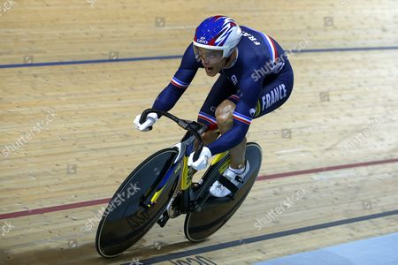 Stock Picture of Kevin Sireau of France Competes During the Men's Team Sprint of the 2015 Uci Track Cycling World Championships in Saint-quentin-en-yvelines France 18 February 2015 France Saint-quentin-en-yvelines
