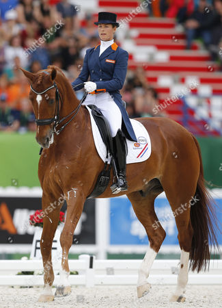 Dutch Rider Adelinde Cornelissen on Horse Jerich Parzival Nop Competes in the Freestyle Grand Prix Dressage Competition During the World Equestrian Games 2014 in Caen France 29 August 2014 France Caen