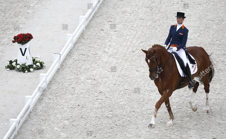 Dutch Rider Adelinde Cornelissen on Horse Jerich Parzival N O P Competes in the Grand Prix Freestyle Dressage Competition During the World Equestrian Games 2014 in Caen France 29 August 2014 France Caen