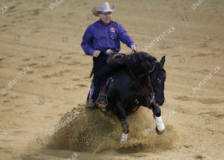 British Rider Doug Allen on Horse Hangten Shiner Competes in the Team & 1st Individual Qualifying Reining Competition During the World Equestrian Games 2014 in Caen France 26 August 2014 France Caen