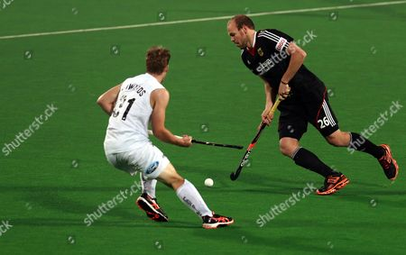 Thilo Stralkowski (r) of Germany in Action Against New Zealand Steve Edwards During the Hockey World League Final Match in New Delhi India 10 January 2014 Germany Won the Match 6-1 India New Delhi
