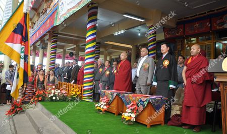 Lobsang Sangay (2-r Front) Prime Minister of the Tibetan Government-in-exile Ogyen Trinley Dorje (4-r Front) the 17th Karmapa the Third Most Important Tibetan Religious Head and Others Take Part in 79th Birth Anniversary Celebrations of the Tibetan Spiritual Leader the Dalai Lama (not Pictured) at the Main Tibetan Tsuglagkhang Temple at Mcleod Ganj Near Dharamsala India 06 July 2014 Born on 06 July 1935 Tibetan Spiritual Leader the Dalai Lama Settled at Dharamsala After Fleeing Tibet in 1959 After a Failed Uprising Against Chinese Rule India Dharamsala