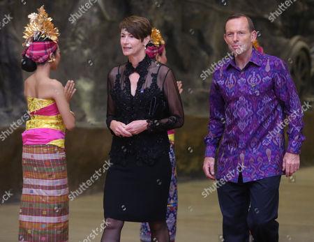 Australian Prime Minister Tony Abbott and His Spouse Margaret Aitken Arrive For a Group Photo at Asia-pacific Economic Cooperation (apec) Summit in Nusa Dua Bali Indonesia 07 October 2013 Indonesia Nusa Dua