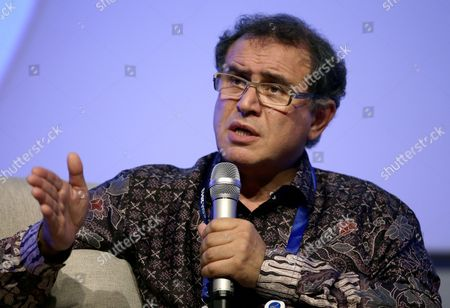 Us Economist Nouriel Roubini Chairman Roubini Global Economics Speaks on the Economies of Indonesia India and China at the Start of the Asia-pacific Economic Cooperation (apec) Ceo Summit in Nusa Dua Bali Indonesia 05 October 2013 Indonesia's Resort Island of Bali is Hosting the Apec Summit and Apec Ceo Summit Until 08 October 2013 Indonesia Nusa Dua