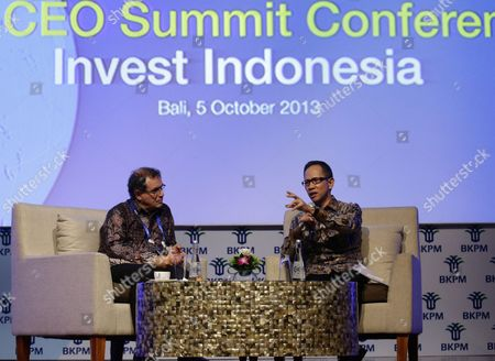 Us Economist Nouriel Roubini Chairman Roubini Global Economics (l) Listens As Mahendra Siregar Chairman of Indonesian Investment Coordinating Board (r) Speaks at the Start of the Asia-pacific Economic Cooperation (apec) Ceo Summit in Nusa Dua Bali Indonesia 05 October 2013 Indonesia's Resort Island of Bali is Hosting the Apec Summit and Apec Ceo Summit Until 08 October 2013 Indonesia Nusa Dua
