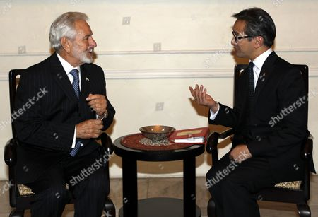Nicaraguas Minister of Foreign Affairs Samuel Santos Lopez (l) Talks to His Indonesian Counterpart Marty Natalegawa During Their Meet in Jakarta Indonesia 18 June 2013 Samuel Santos Lopez is in Indonesia For Few Days to Meet Several Indonesian Leaders Indonesia Jakarta