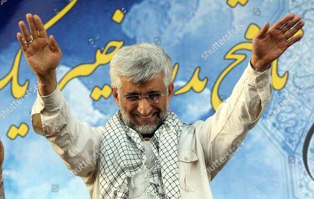 Stock Image of Iranian Presidential Candidate Saeed Jalili Waves to His Supporters During an Election Campaign Rally in Tehran Iran 12 June 2013 Iran Will Hold Presidential Elections on 14 June 2013 Iran (islamic Republic Of) Tehran