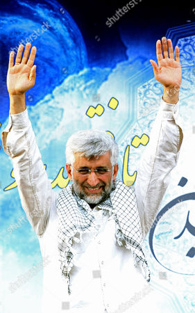 Iranian Presidential Candidate Saeed Jalili Waves to His Supporters During an Election Campaign Rally in Tehran Iran 12 June 2013 Iran Will Hold Presidential Elections on 14 June 2013 Iran (islamic Republic Of) Tehran
