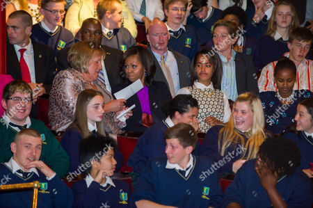 Wife of Irish Prime Minister Enda Kenny Fionnuala Kenny (l) Us First Lady Michelle Obama (2-l) and Daughters Malia (2-r) and Sasha (r) Sit in the Audience During a Special Performance of 'Riverdance' at Dublin's Gaiety Theatre in Dublin Ireland 17 June 2013 Ireland Dublin