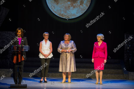 Us First Lady Michelle Obama (l) Next to 'Riverdance' Producer Moya Doherty (2-l) Wife of Irish Prime Minister Enda Kenny Fionnuala Kenny (2-l) and Wife of Irish President Michael D Higgins Sabina Higgins (r) Speaks at Dublin's Gaiety Theatre During Her Visit with Daughters at the Theater For a Special Performance of Riverdance in Dublin Ireland 17 June 2013 Ireland Dublin