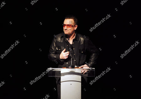 Irish Musician Paul David Hewson Aka Bono of the Band U2 Speaks Before Awarding Pakistani Citizen Malala Yousafzai the Amnesty International Ambassador of Conscience Award During a Ceremony in Dubllin Ireland 17 September 2013 Malala was Attacked by Taliban on 09 October 2012 For Advocating Girls Rights to Education and Wounded Along with Two Schoolmates Ireland Dublin