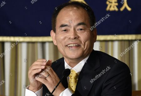 Stock Picture of Japanese Laureate of Nobel Prize in Physics 2014 Shuji Nakamura of University of California Santa Barbara Usa Smiles During a Press Conference at the Foreign Correspondents' Club of Japan in Tokyo Japan 16 January 2015 Nakamura Emphasized That One of Japan's Biggest Problem For Selling Abroad Its Innovations is the Lack of English Langage Knowledge by the Country's Political and Industrial Leaders Japan Tokyo