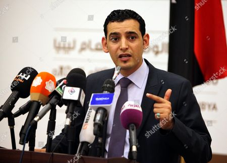 Spokesman For the Libyan National Congress Omar Mohammed Humaidan Holds a Press Conference in Tripoli Libya 05 May 2013 Libya's Parliament on 05 May Passed a Law That Bars Officials who Served in the Regime of Slain Leader Moammar Gaddafi From Holding Office the National Congress Adopted the Political Isolation Law After Days of Protests by Militias who Took Part in a 2011 Armed Revolt That Ousted Gaddafi Libyan Arab Jamahiriya Tripoli