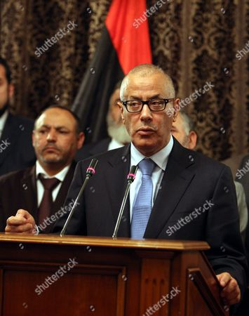 Libyan Prime Minister Ali Zeidan Speaks at a Press Conference with Members of the Government in Tripoli Libya 11 October 2013 Libyan Arab Jamahiriya Tripoli