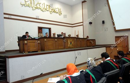 Libyan Military High Court Judges Preside Over the Appeal of 24 Defendants From Russia Ukraine and Belarus in Tripoli Libya 14 August 2013 the Defendants Were Convicted For Collaboration with Ousted Muammar Qaddafi an Appeal Hearing Held the Same Day Turned Their Case to a Civilian Court Libyan Arab Jamahiriya Tripoli