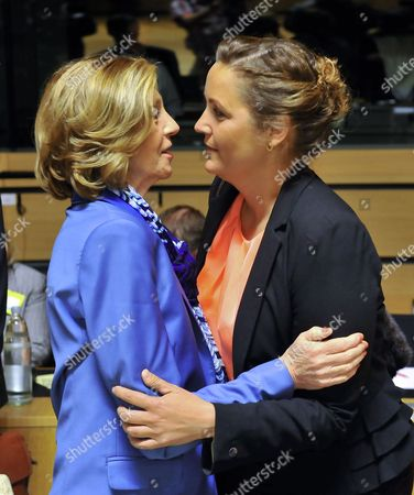 French Minister For Foreign Trade Nicole Bricq (l) Greets Danish Minister For Trade and Investment Pia Olsen Dyhr (r) Prior the Eu Foreign Affairs/trade Council at the Eu Headquarters in Luxembourg 14 June 2013 Ministers Will Talk About Eu-china Strategic Trade and Investement Relations Luxembourg Luxembourg
