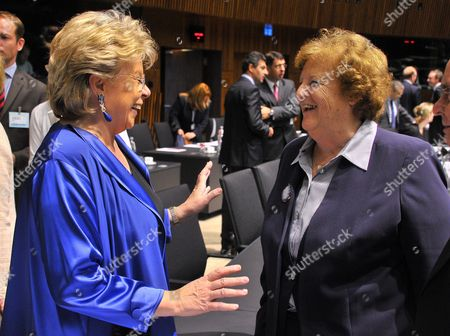 Stock Photo of European Commisssioner For Justice Fundamental Rights and Citizenship Viviane Reding (l) Chats with Italian Justice Minister Anna Maria Cancellieri (r) Prior to the Eu Luxembourg Justice and Home Affairs Council at the Eu Headquarters in Luxembourg 06 June 2013 the Main Issues on the Agenda For the Justice and Home Affairs Council Which Takes Place on 06-07 June Are the Reform of Eu Data Protection Rules Fighting Fraud Against the Eu Budget and Ensuring Fair Trial Right and Access to a Lawyer Amongst Other Topics Luxembourg Luxembourg
