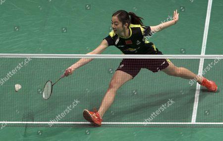 Wang Shixian of China in Action Against Bae Yeon Ju of South Korea (not Pictured) During the Women's Single Semi Final Match of the Badminton Malaysian Open at Putra Stadium in Kuala Lumpur Malaysia 18 January 2014 Malaysia Kuala Lumpur