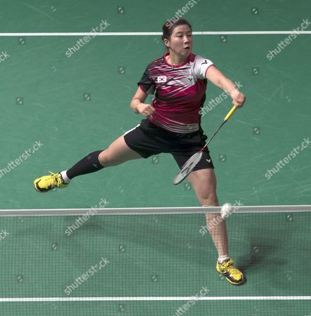 Bae Yeon Ju of South Korea in Action Against Wang Shixian of China (not Pictured) During the Women's Single Semi Final Match of the Badminton Malaysian Open at Putra Stadium in Kuala Lumpur Malaysia 18 January 2014 Malaysia Kuala Lumpur